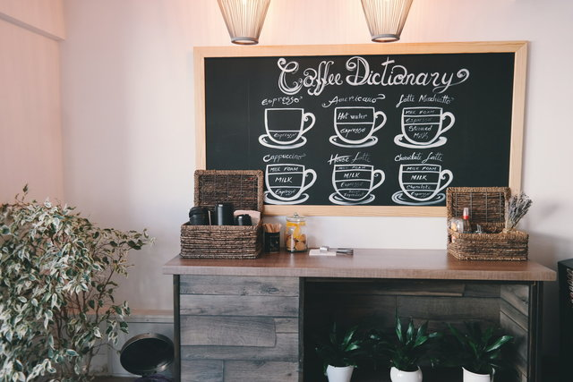 Basket chalkboard coffee shop coffeehouse decor