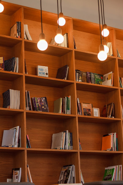 Bookcase books lights shelves wooden