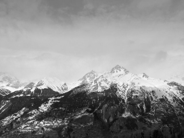 Black and white cold landscape mountain outdoors