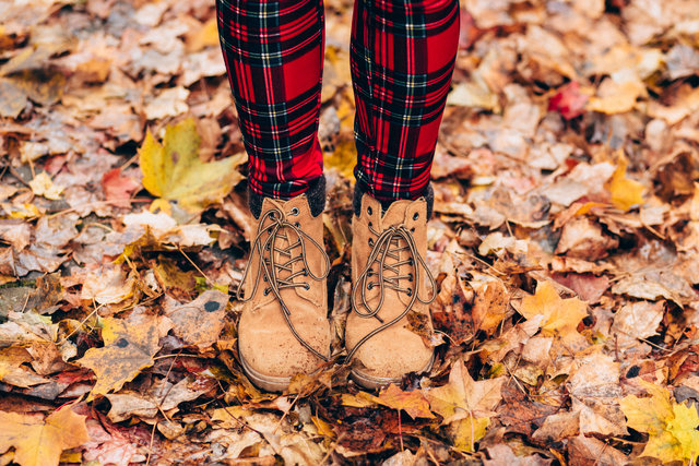Autumn boots dry leaves fall feet