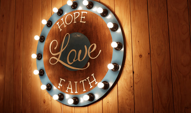 Art design faith illuminated light bulbs