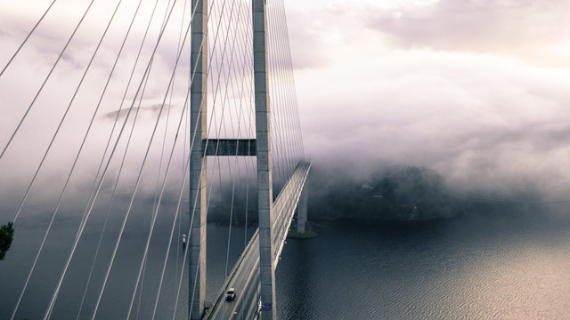 Architecture bridge fog ocean river