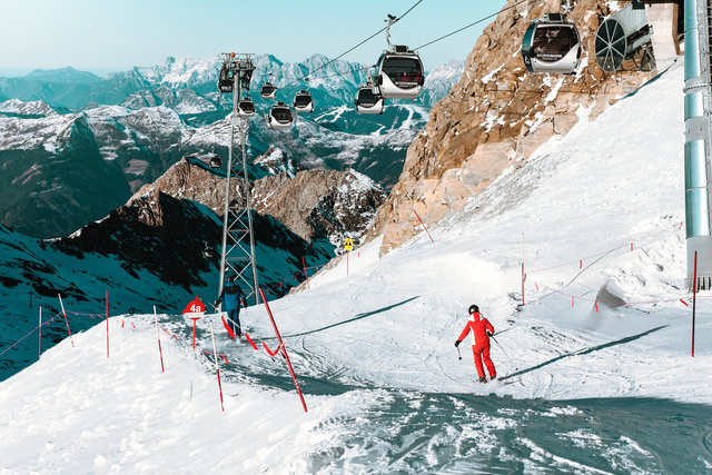 Action adventure alpine cable cars climb