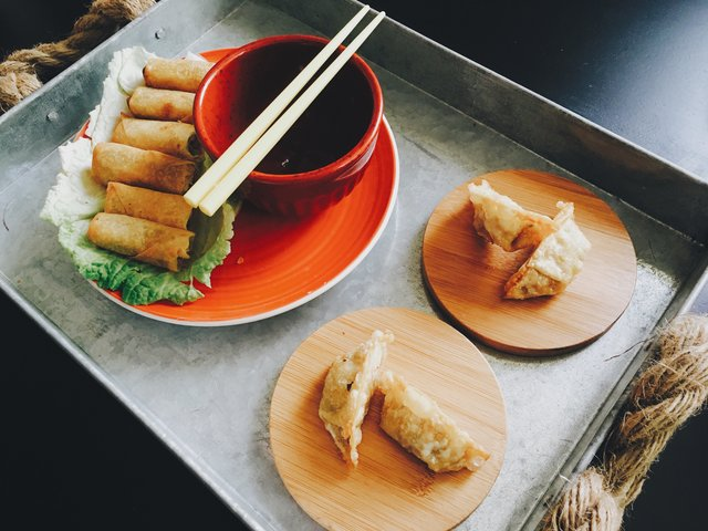 Asian food chopsticks dish dumplings food