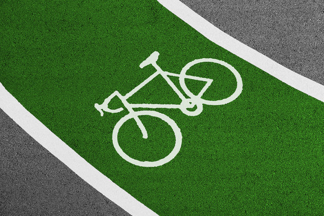 Asphalt bicycle empty field grass