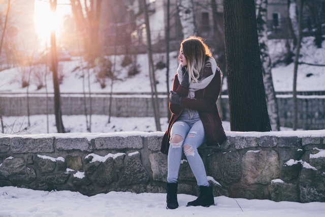 Cold fashion female girl outdoors