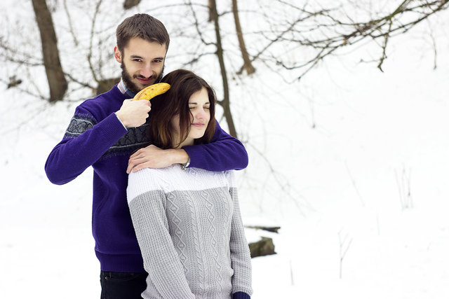 Banana cold embrace enjoyment facial expression