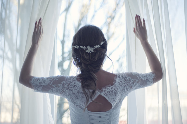 Adult bridal bride brunette curtain