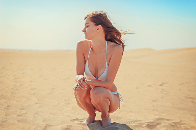 Beach bikini desert dunes enjoyment