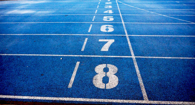 Athletics blue ground lanes lines