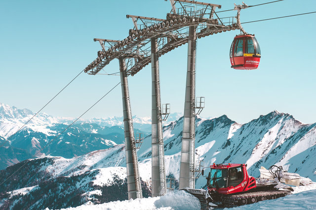 Adventure alpine cable car cold high