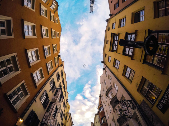 Airplane apartment architecture blue sky building
