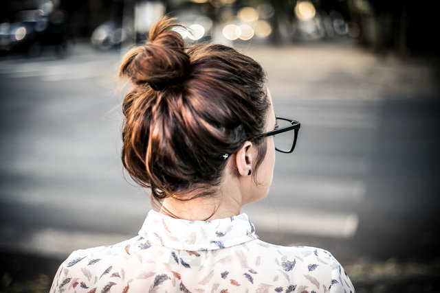 Adorable back view blur bun close up