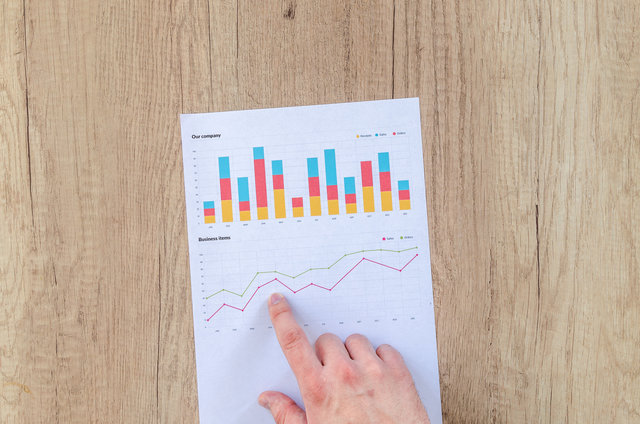 Chart data desk document finger