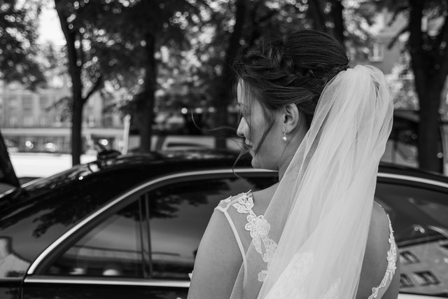 Black and white bride car girl monochrome