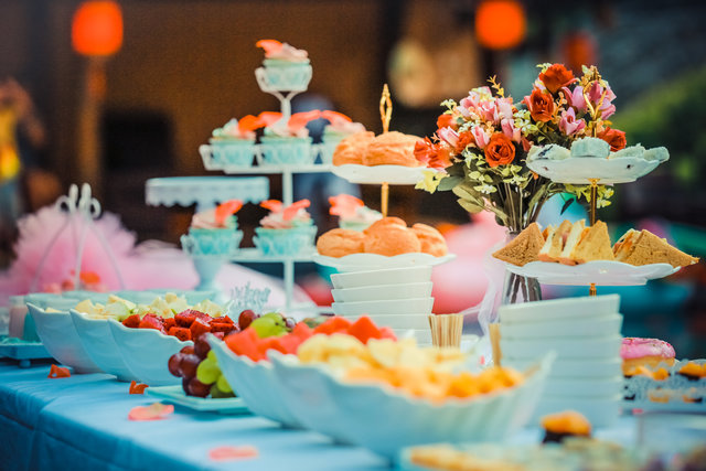 Colorful colourful dessert table desserts flowers