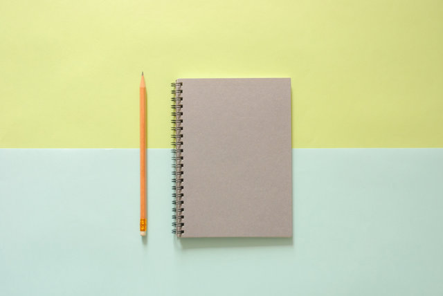 Background notebook pencil school supplies top view