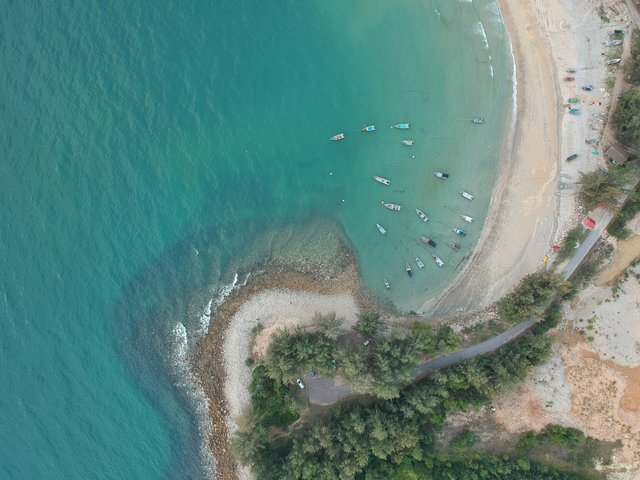 Aerial shot aerial view beach bird s eye view boat