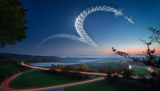 Fantasy landscape rope aircraft sky