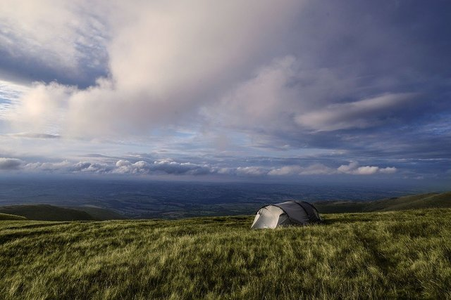 Camping wales brecon beacons tent sky