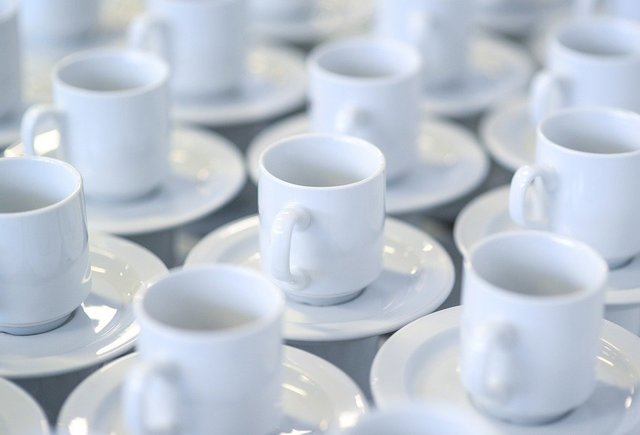 Coffee cups stacked white porcelain