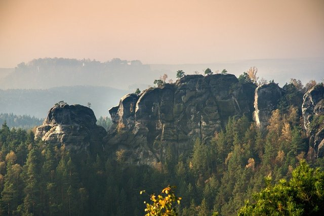 Elbe sandstone morning haze rock needles landscape