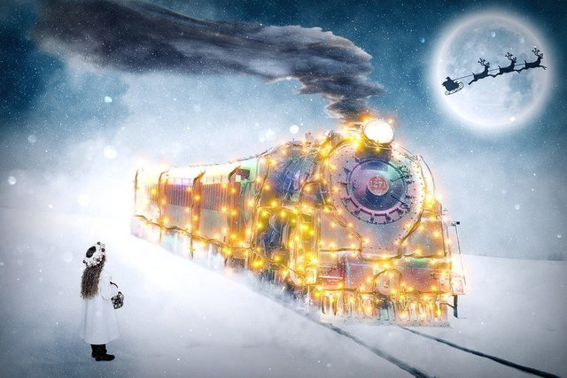 Christmas child christmas motif december train