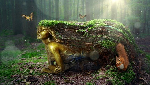 Fantasy forest woman mythical creatures golden