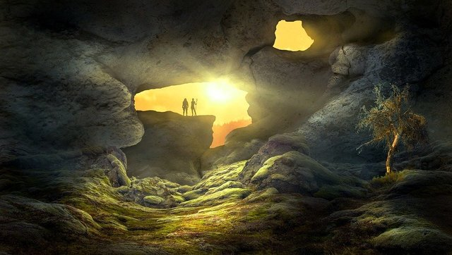 Fantasy landscape cave sun light