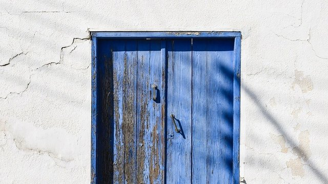 Door wooden blue old aged