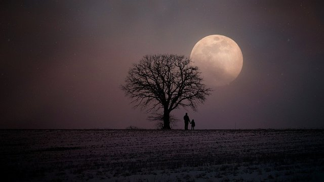 Winter wintry moon human father and child