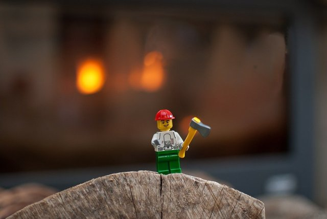 Lego figurine wood fire insert