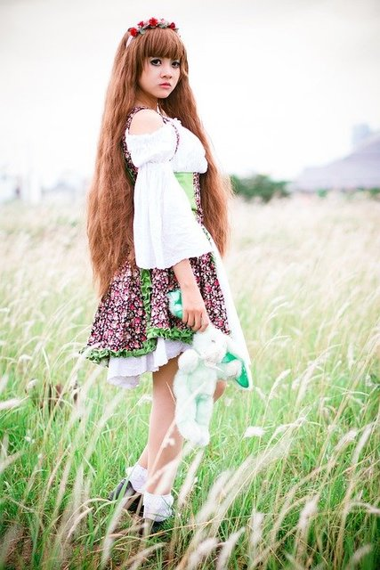 Girl grass green field model