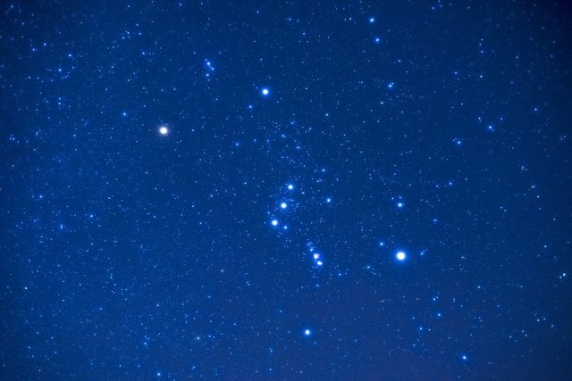 Orion night star constellation
