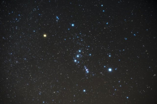 Orion night shy star constellation