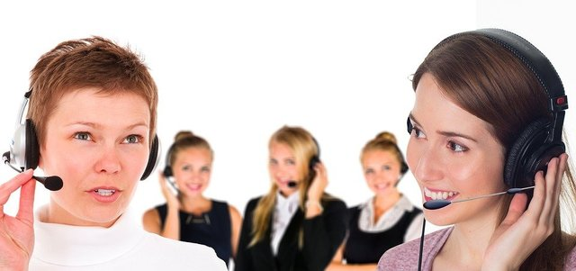 Call center headset woman service consulting