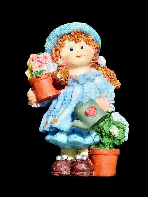 Girl doll gardener figure decoration