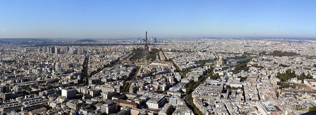 Paris landscape urban eiffel tower aerial view