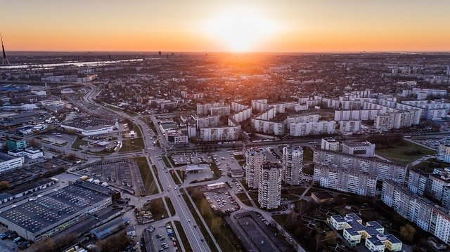Riga aerial view latvia drone city