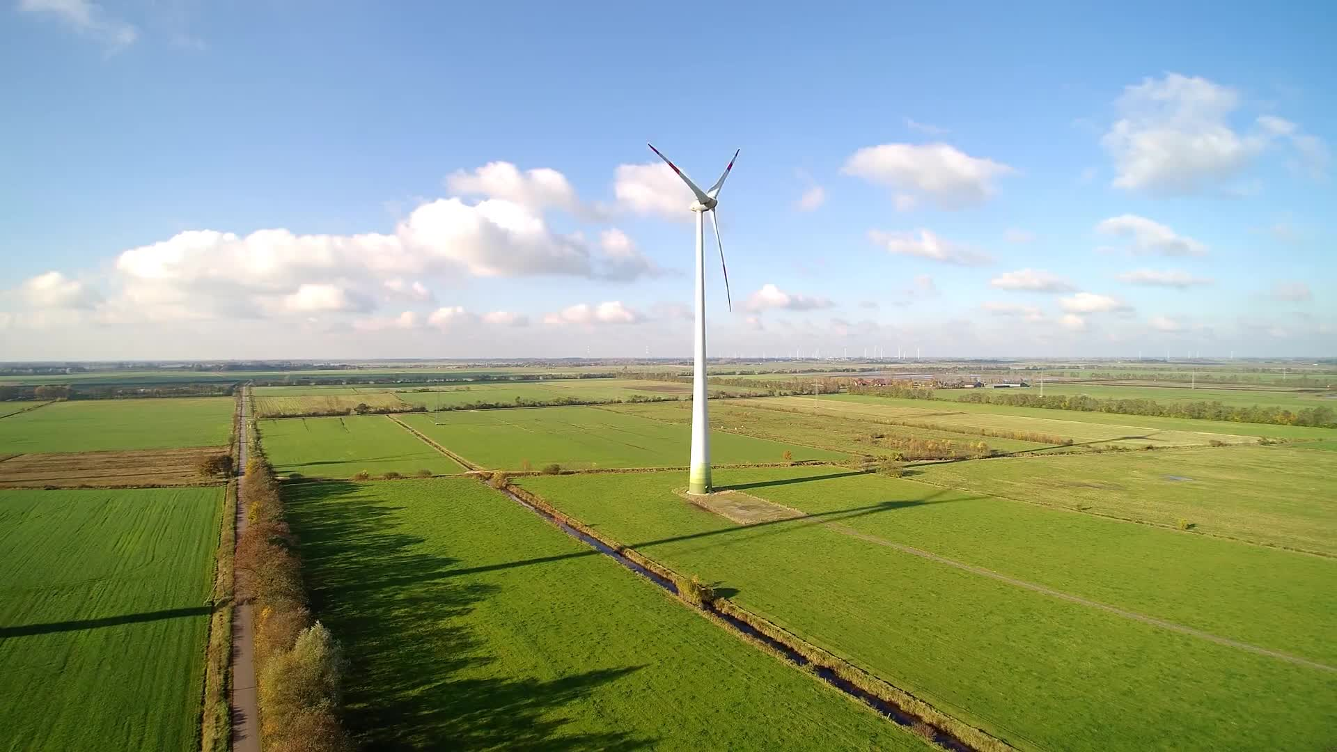 Wind turbine on field