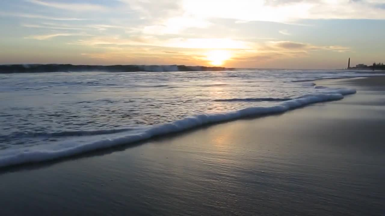 Beach waves video during sunset