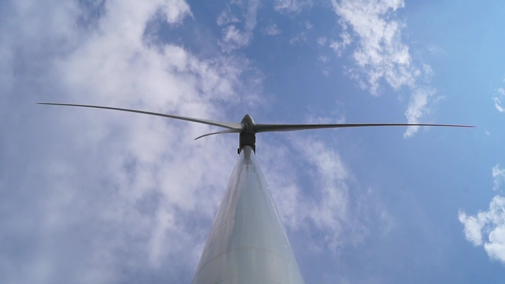 Low angle shot of wind turbine