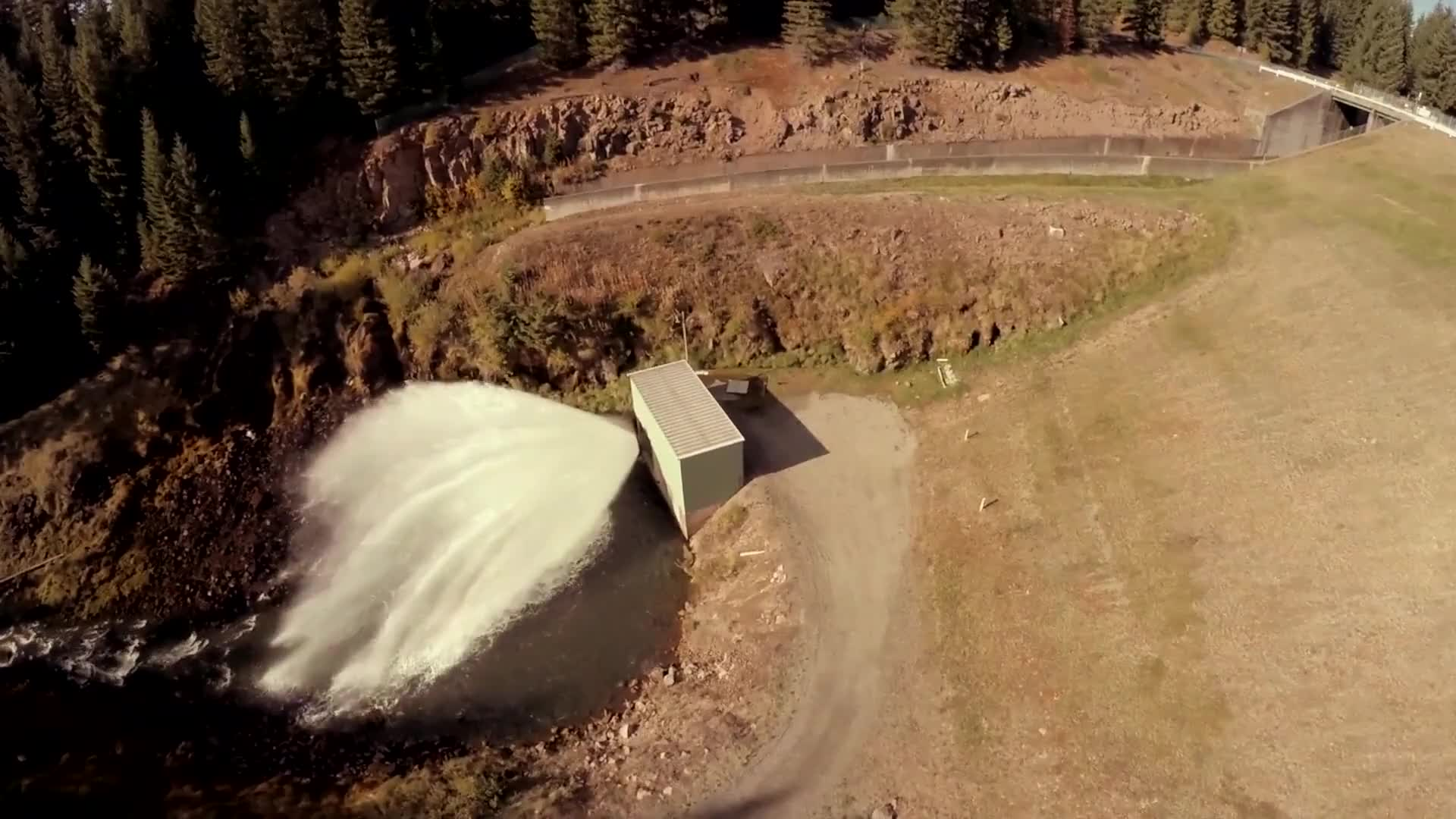 Aerial video of hydroelectric dam