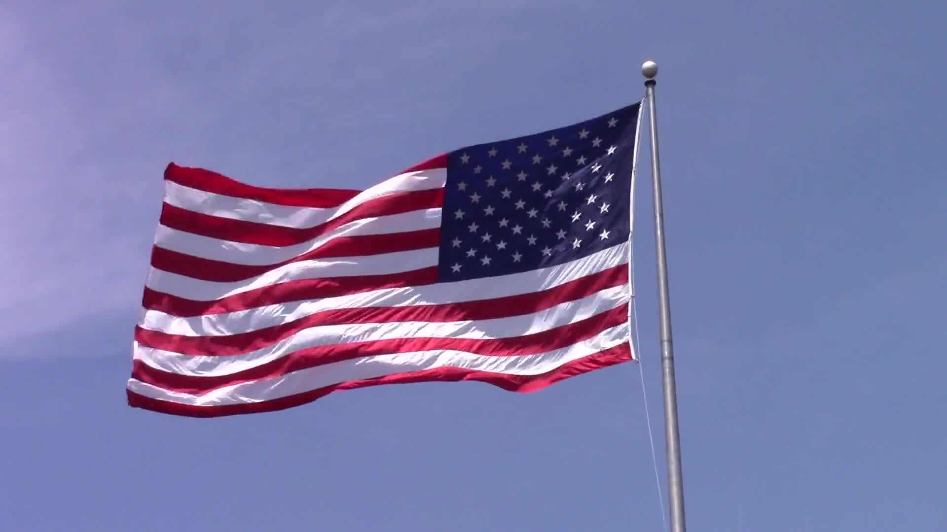 American flag flag blowing in the wind