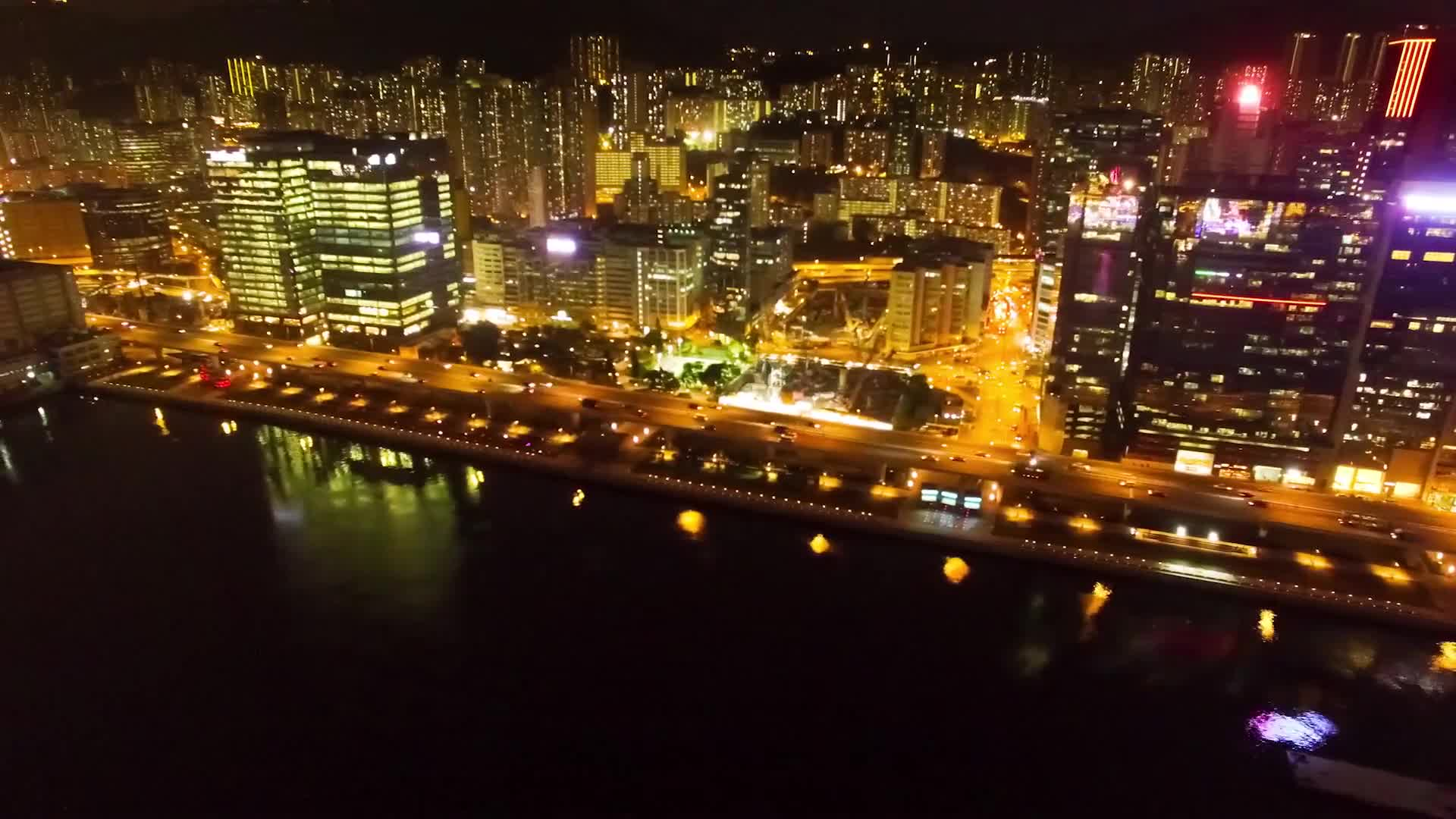 City hong kong night aerial view cityscape