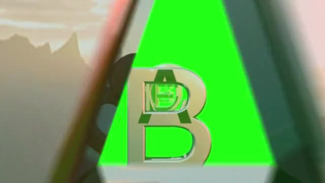 Alphabet letters greenscreen fly through a