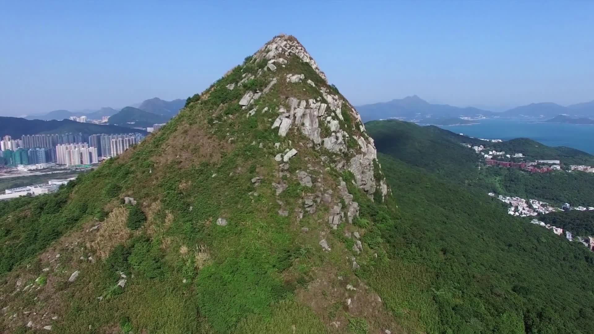 Mountain hill peak aerial hiking