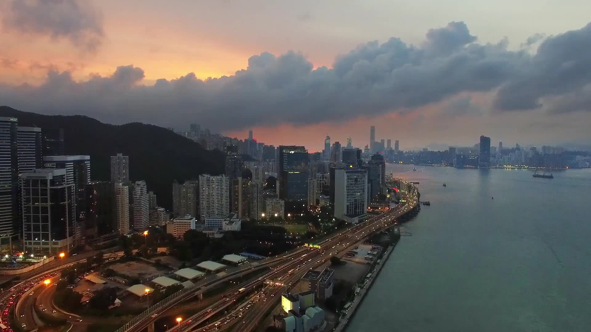 City nightfall hong kong sunset traffic