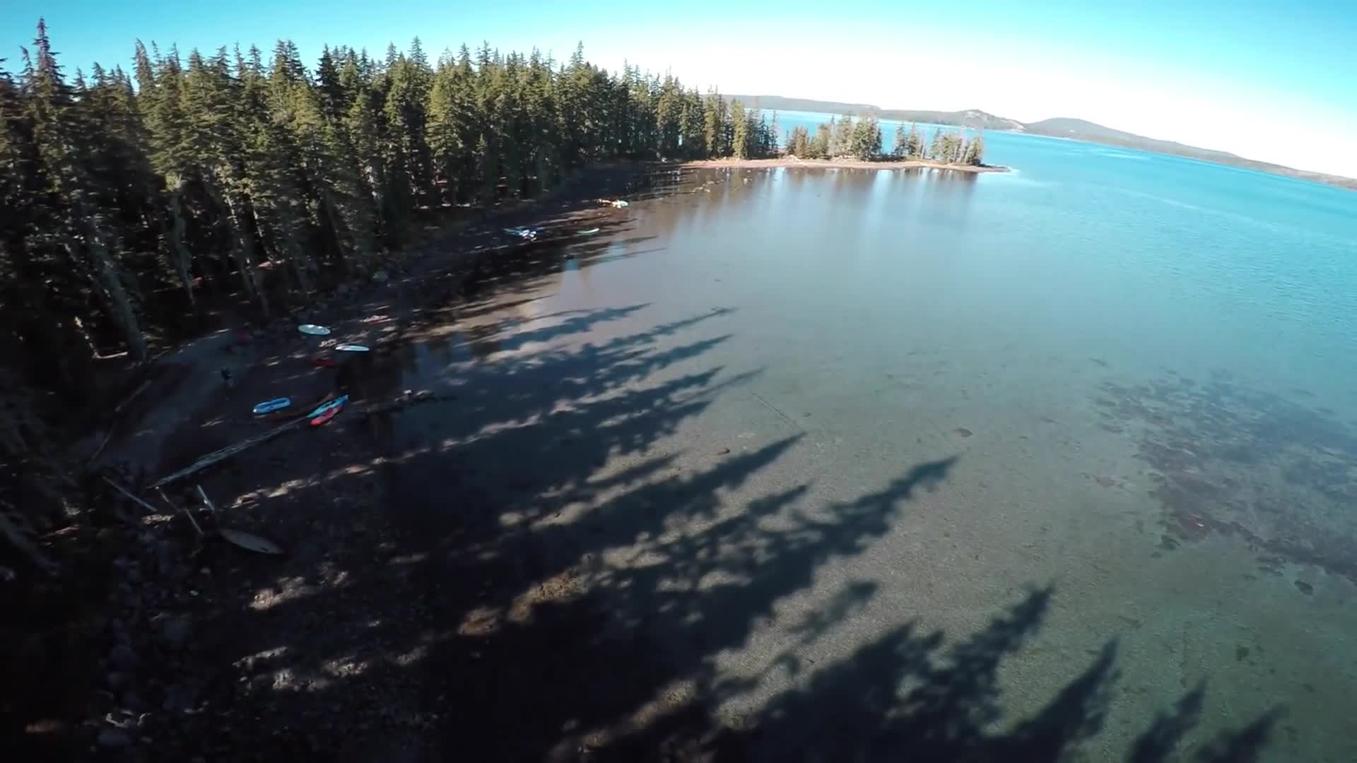 Lake aerial view drone flight view