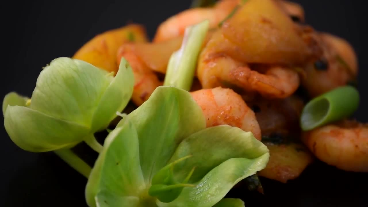 Prawn mango stir fry cuisine dish food